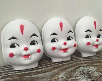 3 Vintage Thin Plastic Clown Faces Masks, Doll Supplies Clown Head