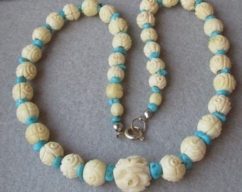 Vintage Carved Bone ROSE Beads & Turquoise Nugget Upcycled Artisan Necklace