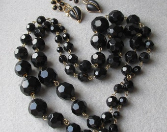 """Long 37"""" Heavy 1950's Vintage Faceted Black Glass Bead Necklace"""