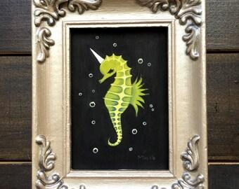 Sea Unicorn 3, original gouache ACEO painting with frame, seahorse unicorn, cute fantasy creature, aquatic, sea creature, tiny art