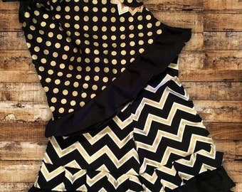 Girls Ruffle Pant Outfit-Black and Gold-Girls Boutique Ruffle Pants Set-Chevron and Polka Dot Ruffle Outfit