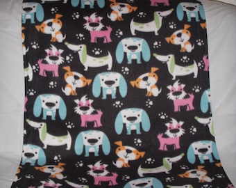 Doggy Blanket - pretty colorful pups on black fleece with the same print on the reverse side