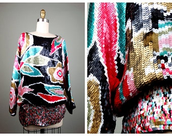 80s Floral Sequined Evening Top // Oversized Bright Sequin Embellished Blouse XL