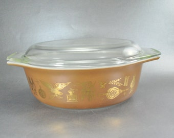 Pyrex Early American Heritage 043 Casserole Vintage Clear Glass Lid 1 1/2 Quart