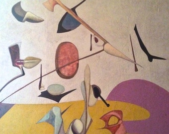 Original Surrealist painting 1950's Signed