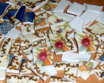 Broken china, Mosaic supplies, mosaic tiles, handcut, Jewel supplies
