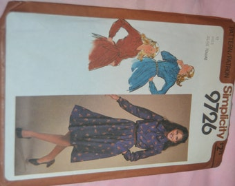 Simplicity 9726 Misses Pullover Dress wth Accessory Sash  Sewing Pattern - UNCUT - Size 12