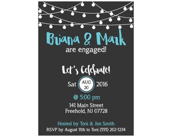 String Lights Engagement Party Invitation-Print at Home