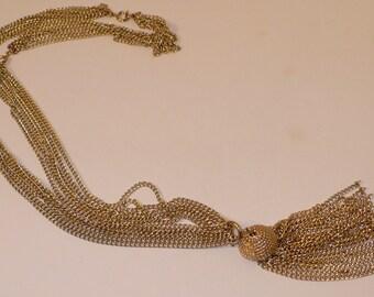 Vintage Sarah Coventry gold chain tassel necklace with detachable bracelet.