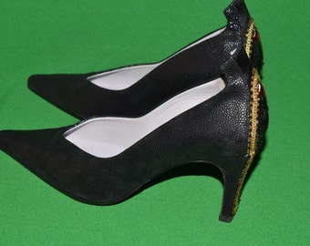 Maud Frizon Paris  Heels Black Suide Shoes Size 37 Disco Fever Pumps