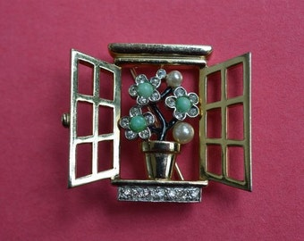 Vintage BOUCHER Window With Flower Brooch Rhinestone Cabochon Pin 1950s.