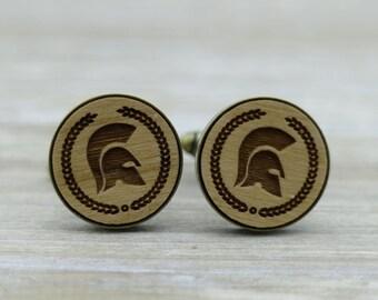 Spartan Frame Helmet Bronze Wood Cufflinks - Fighter - Greek warrior - Groomsmen Gift - Solider - Groom Cuff Links - Unique wedding gift