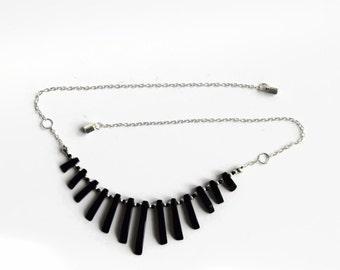 Black agate necklace, bib chain necklace, sterling silver chain necklace, black statement necklace, magnetic clasp necklace, UK shop