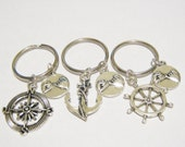 3 Compass Anchor Rudder Pinky Promise Best Friend BFF Keychains