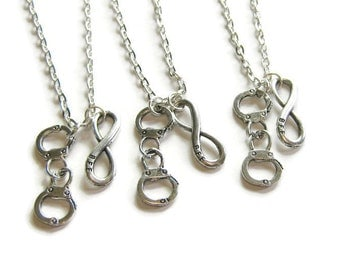 3 Best Friends Necklaces, BFF Infinity And Handcuff Necklace, Partners In Crime, 3 BFF Necklaces, Three Best Friends, 3 Best Friends Jewelry