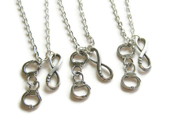 3 Best Friends Necklaces BFF Infinity And Handcuff Necklace