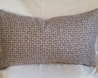 Single Lumbar Decorative Pillow Cover-14 X 23 Inch Beige and Gray Geometric Design-Accent Kidney Pillow Cover-Free Shipping.