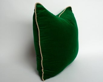 green and gold pillow case // emerald green with gold piping // emerald green velvet