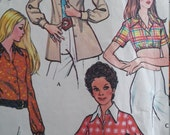 Vintage McCalls 3180 Sewing Pattern Size 16 Bust 38 Shirts Crop Top and Buttoned Down Shirts