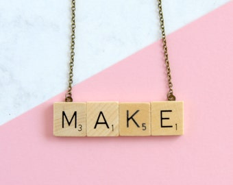MAKE Phrase Necklace,  Wooden Scrabble Inspired Make Necklace, Scrabble Necklace, Make Word Necklace