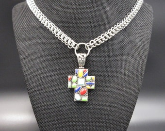 Sterling silver & Turquoise Cross on Chainmaille Chain