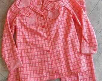 Vintage Womens Polyester Pants Suit/Jacket size 14~Coral Orange Print Variegated