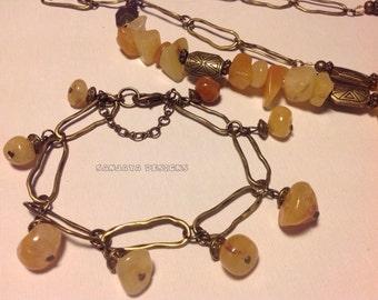 Golden Cream Quartz necklace and bracelet set