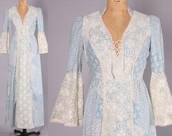 1970s Boho Dress // Vintage Renaissance dress bell sleeves // Hippie Maxi (small- medium)