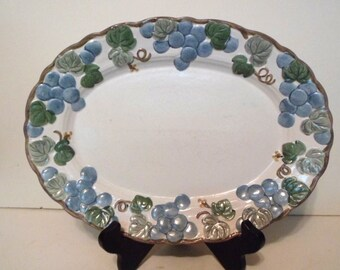 Metlox Sculptured Grape Pattern 12 Inch Platter