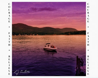 Greeting Cards for Breast Cancer Patients & Survivors, Cancer Support, Card for Cancer Survivor, Lake George New York digital art, iPad art