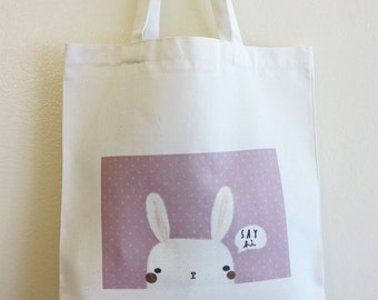 Rabbit Say Hi Tote Bag, Reusable Bag