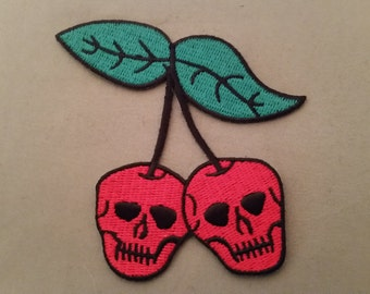 Cherry skulls embroidered patch