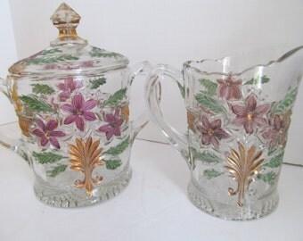 Beautiful Victorian Crystal Creamer and Sugar Set Crystal Sugar Bowl Set  Clear Glass Sugar Creamer set Double handle Sugar Bowl with Cover