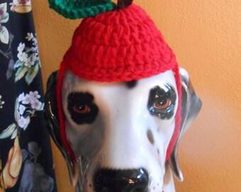 Crocheted Apple Hat for Large Dogs, Big Dog Apple Hat, Halloween Costume for Big Dog