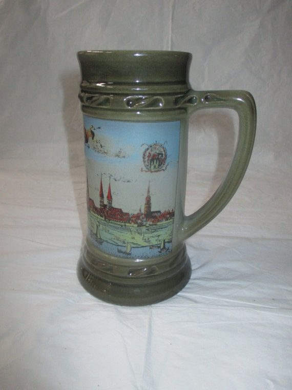"7-1/8"" Zoller & Born HAMBURG Germany Dark Green Stein (No Lid) c. 1990"