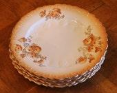 Antique Aynsley English Fine Bone China Floral Pattern Dessert Plate Set