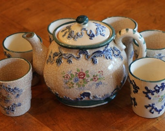 Japanese Decorative Display Only Teapot Set (Not for Use) With Teapot and Six Handle-less Cups