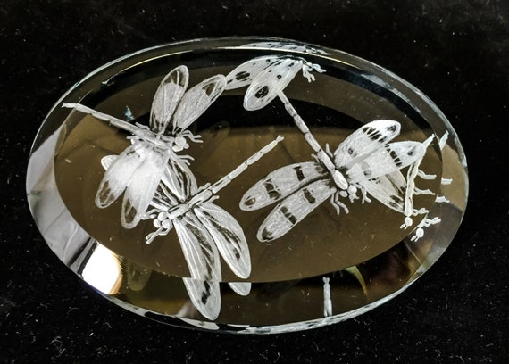 Hand Engraved Paperweight, heart, valentine, love, glass, gift, bespoke, personalized, paperweight, bridal, Mother's Day, dragonflies