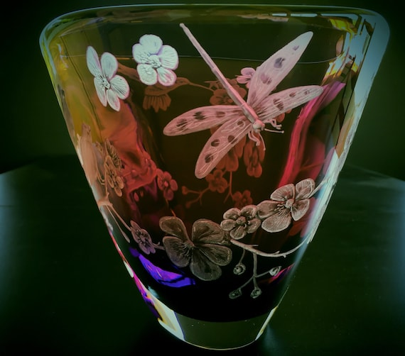 Hand Centerpiece Bowl, Hummingbird, Flowers, Hummingbirds