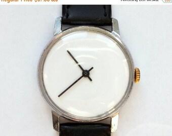 "Mens watch, Soviet watch, Russian watch ,minimalist watch, watch men , Mechanical watch , white watch ""Raketa"""