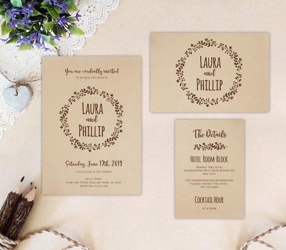 Cheap Cardstock For Wedding Invitations : ... kraft cardstock Wreath wedding invitations Kraft wedding invites