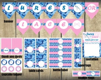 Lures or Lace Gender Reveal DIY Printable Party Package invitation, banner, bottle labels, food card, cupcake topper etc.