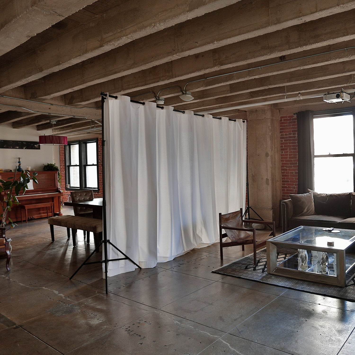Free standing curtain room dividers - Muslin Freestanding Room Divider Kit For Rooms 8ft To 9ft Tall X 7ft To 50ft