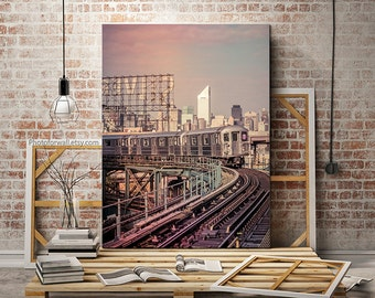 Large wall art, New York photography, Silvercup subway canvas art, New York canvas art, large canvas art personalized home decor