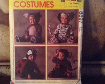 McCall's 8897 size 3 Toddlers Ladybug, Monkey, Koala Bear and Dalmation Costumes Sewing Pattern 1997 UnCut