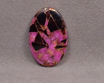 OBSIDIAN, DYED PINK Calcite and Bronze Cabochon