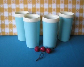 Turquoise Blue Thermo Tumblers -  Insulated -  Set of 4 -Vintage 1960's