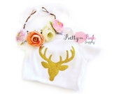 Baby Onesie and Glitter Deer DIY Crown Kit #2- Iron On Glitter Applique and Baby Body Suit- Baby Girl Clothes- Deer Antler- DIY Headband Kit