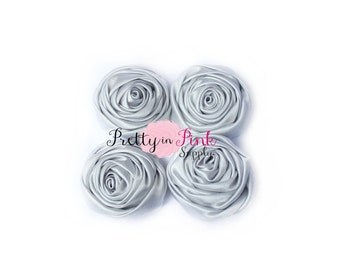 Grey Small Satin TWISTED Rosettes...You Choose Quantity...Rolled Rosettes..Rolled Rosettes...Rosettes