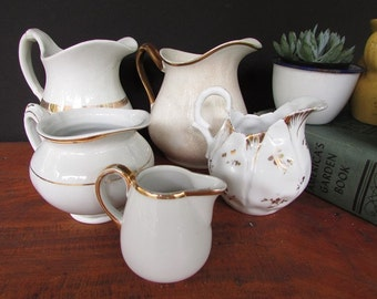 5 Creamers Pitcher Collection Vintage Ironstone Wedding Decor Gold Rimmed Bud Vases Centerpieces